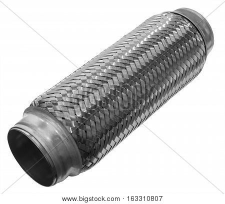 woven tube exhaust system of the car on a white background