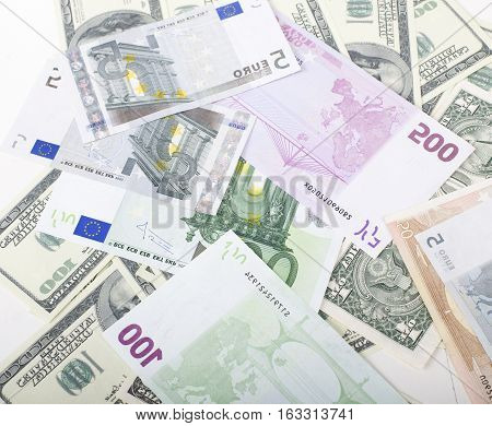lot fo americans dollars cash background, diverse money worldwide close up