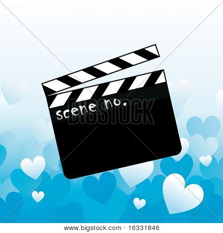Open clapboard on blue background