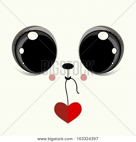 Cover design with the face of a cat with big eyes and the red heart.