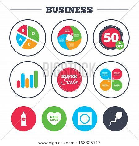 Business pie chart. Growth graph. Safe sex love icons. Condom in package symbol. Sperm sign. Fertilization or insemination. Super sale and discount buttons. Vector