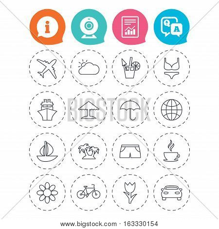 Travel icons. Ship, plane and car transport. Beach umbrella, palms and cocktail. Swimming trunks. Rose or tulip flower. Information, question and answer icons. Web camera, report signs. Vector