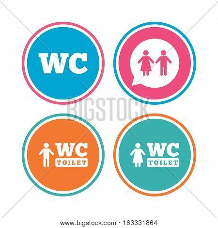 WC Toilet icons. Gents and ladies room signs. Man and woman speech bubble symbol. Colored circle buttons. Vector
