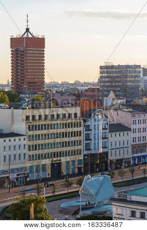 Poznan, Poland - August 30, 2016: View At Sunset On Economic Academy And Buildings In Polish Town Po