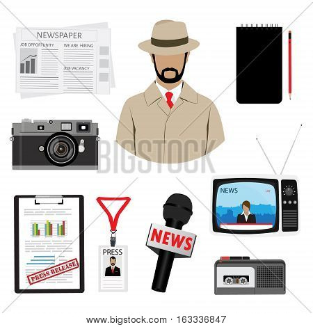 Journalist or reporter vector icon set. Dictaphone microphone press release camera and name tag badge template. Plastic lanyard badge with man photo for press.