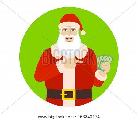 Santa Claus pointing at money in his hand. Santa Claus with money. Portrait of Santa Claus in a flat style. Vector illustration.