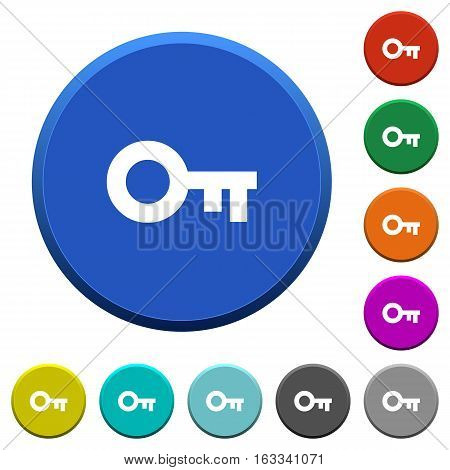 Old key round color beveled buttons with smooth surfaces and flat white icons