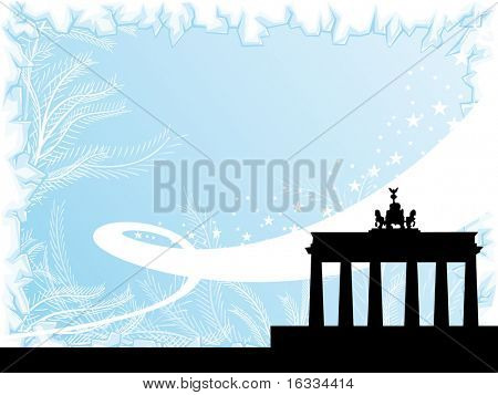 Berlin city winter background with ice border and black silhouette