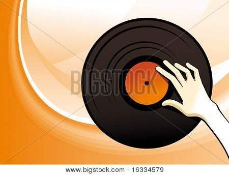 Vinyl player hand with disk. Orange vector background