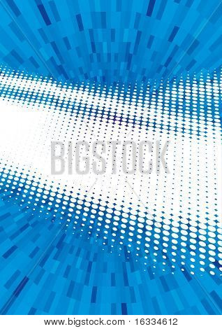 Vector illustration of blue abstract techno shining background made of dots rays.