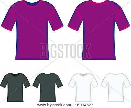 vector front and back t-shirt in purple, black and whit colours