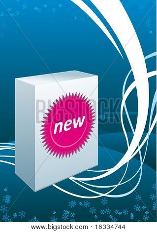 Vector white box with sticker. Blue wave background