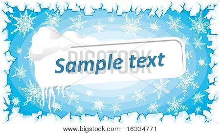 A frozen blue sign. Vector snow background