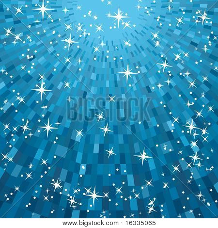 Vector Festive blue square abstract background with stars descending on rays of light
