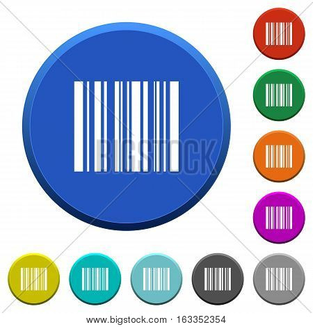Barcode round color beveled buttons with smooth surfaces and flat white icons