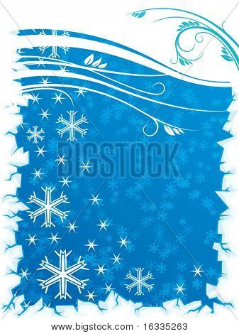 Abstract blue winter background with floral and snowflake elements