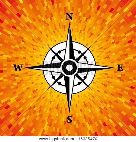 Vector compass with orange background