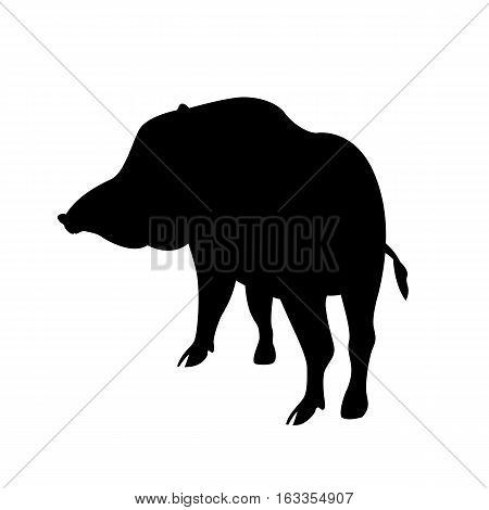 Wild boar vector illustration  black silhouette side