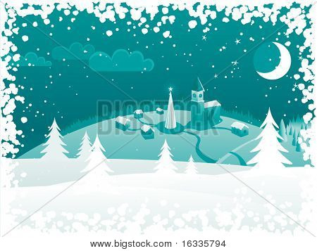 Vector Winter green background. Christmas night landscape with trees, chirch, town, moon and snow frame border
