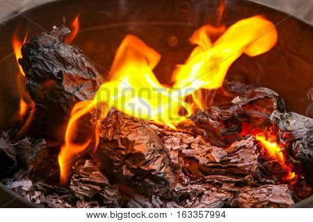 The tradition of burning paper gold, paper money believed the Chinese for ancestor worship ceremonies.