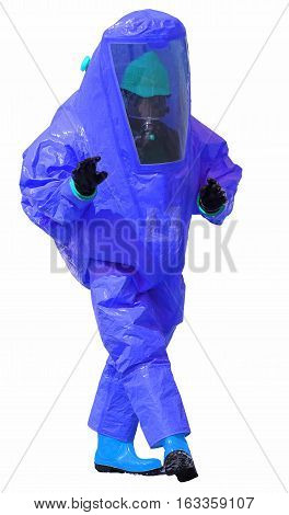 Person With Blue Protective Suit With Breathing Apparatus On Whi