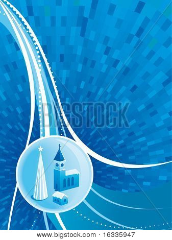 Vector blue Christmas background with chirch and christmas tree ball