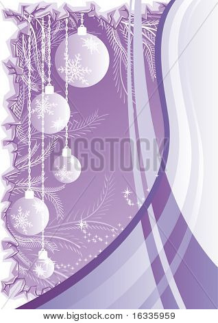 Vector Abstract purple christmas background with christmas balls, waves and ice