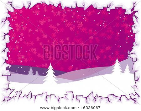Abstract vector purple Winter background with christmas landscape