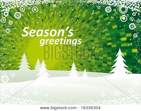 Winter vector green landscape shine background