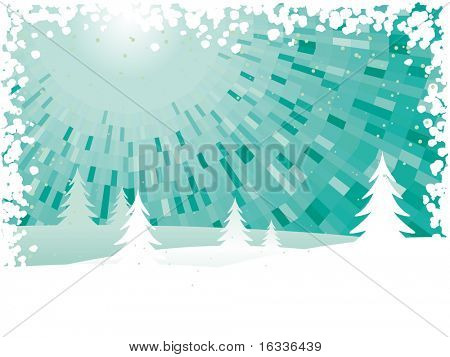 Vector landscape Winter green shine background with trees and snow border