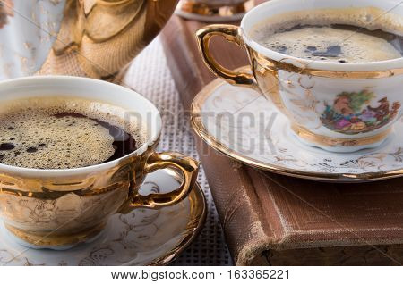 Antique Porcelain Coffee Cups With Hot Espresso