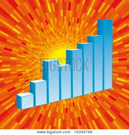 Vector blue Graph with orange shine  background