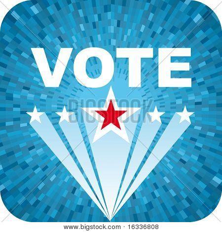 Fundo de eleição azul vector com texto de votação e estrelas