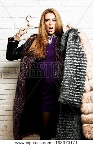 Surprised Fashionable Woman In Fur