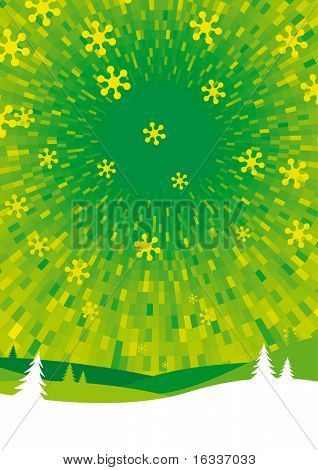 Vector green Winter background with landscape and snowflakes
