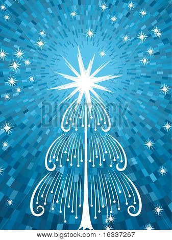 Abstract vector christmas tree with shine blue background