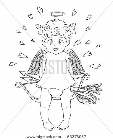Valentine's day. Funny Cupid-girl in white dress with bow and arrows in her hands. Hearts around. Vector illustration isolated on white background. Card. Coloring page.