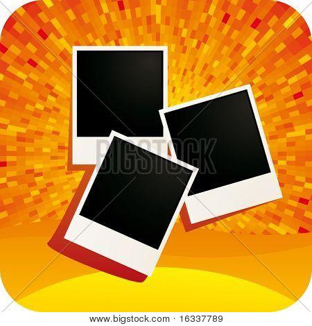Tarjetas de la foto con fondo naranja brillo