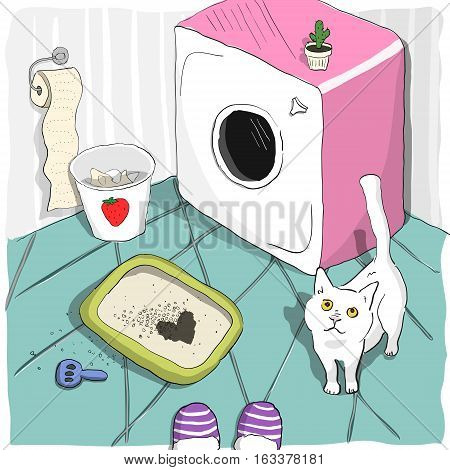 Cute cat made a heart shape spot in a litter box and looks with love at his owner. Pet in a litterbox in a glamour girl bathroom. Colorful cartoon vector illustration