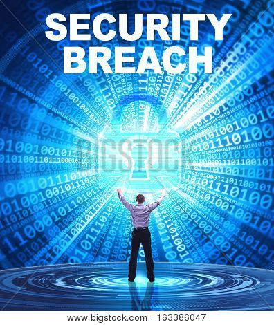 Technology, Internet, Business And Network Concept. Young Business Man Provides Cyber Security: Secu