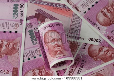 New Indian Rupee 2000 Currency Note after Demonitization