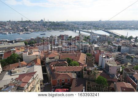 Bridge over the Golden Horn - Bosporus - in Istanbul, Turkey.