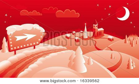 Red vector Background for Christmas card with roads, hills, sign, town, christmas tree