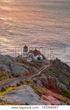 Point Reyes Lighthouse, Sunset. Point Reyes National Seashore, North California, USA.