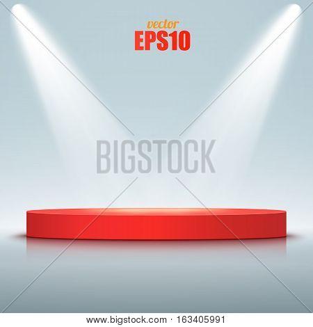 Round podium illuminated by spotlights. Vector illustration.