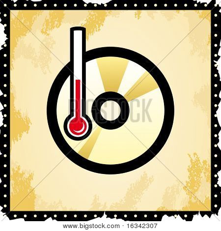 vector disc icon - temperature