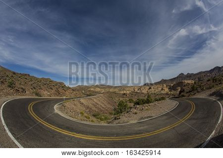 A Hairpin turn along a deserted highway