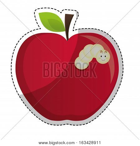 sticker of red apple fruit with worm icon over white background. colorful design. vector illustration