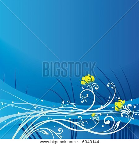 Floral blue vector background
