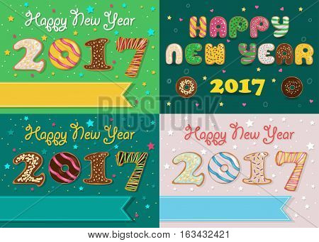 Happy New Year 2017. Colorful Donuts artistic font. Banners for custom texts. Years specific